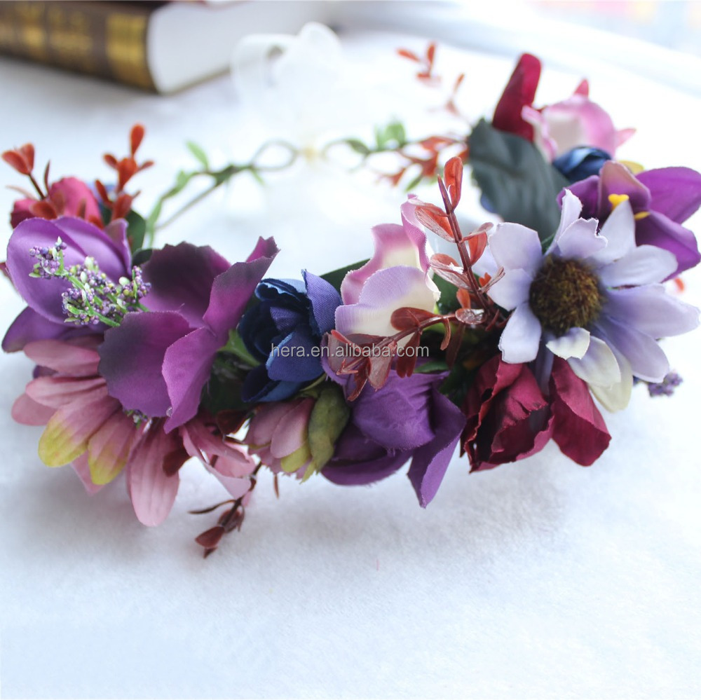 Dark Purple Flower Crown Disposable Flower Headbands Accessories For