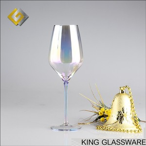 Custom handmade crystal electroplate iron pearly lustre pearlescent wine glass centerpiece for wedding favor wholesale