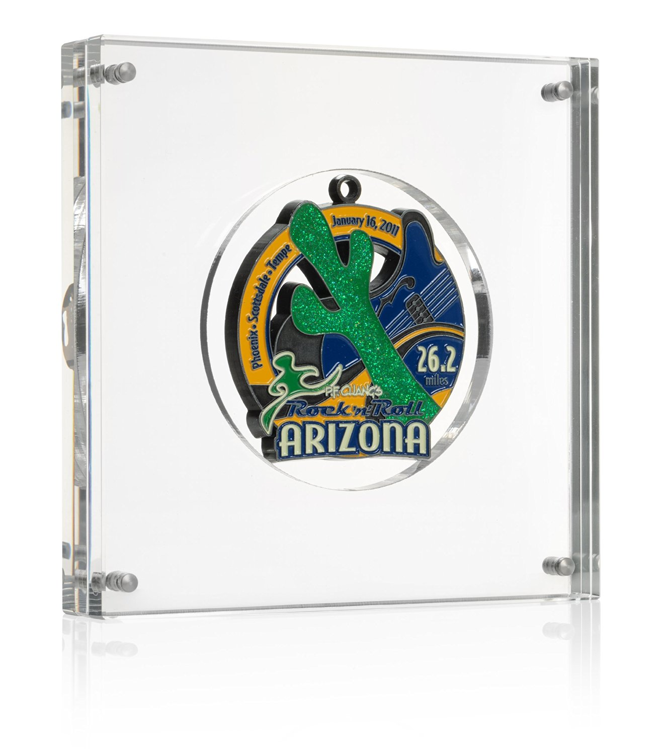 """Medal Display (Up to 3 1/3"""" Medals) - Large 6"""" Acrylic Self Standing Frame - Simple Setup"""