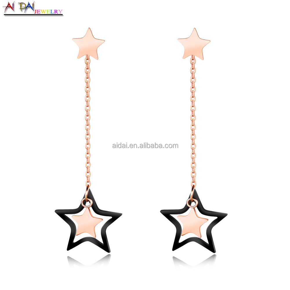 Christmas gifts girl rose gold plated stainless steel star fashion earring design