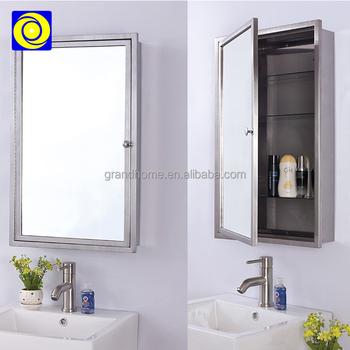 430 Stainless Steel Waterproof Bath Cabinet Wall Mounted Mirrored In Bathroom