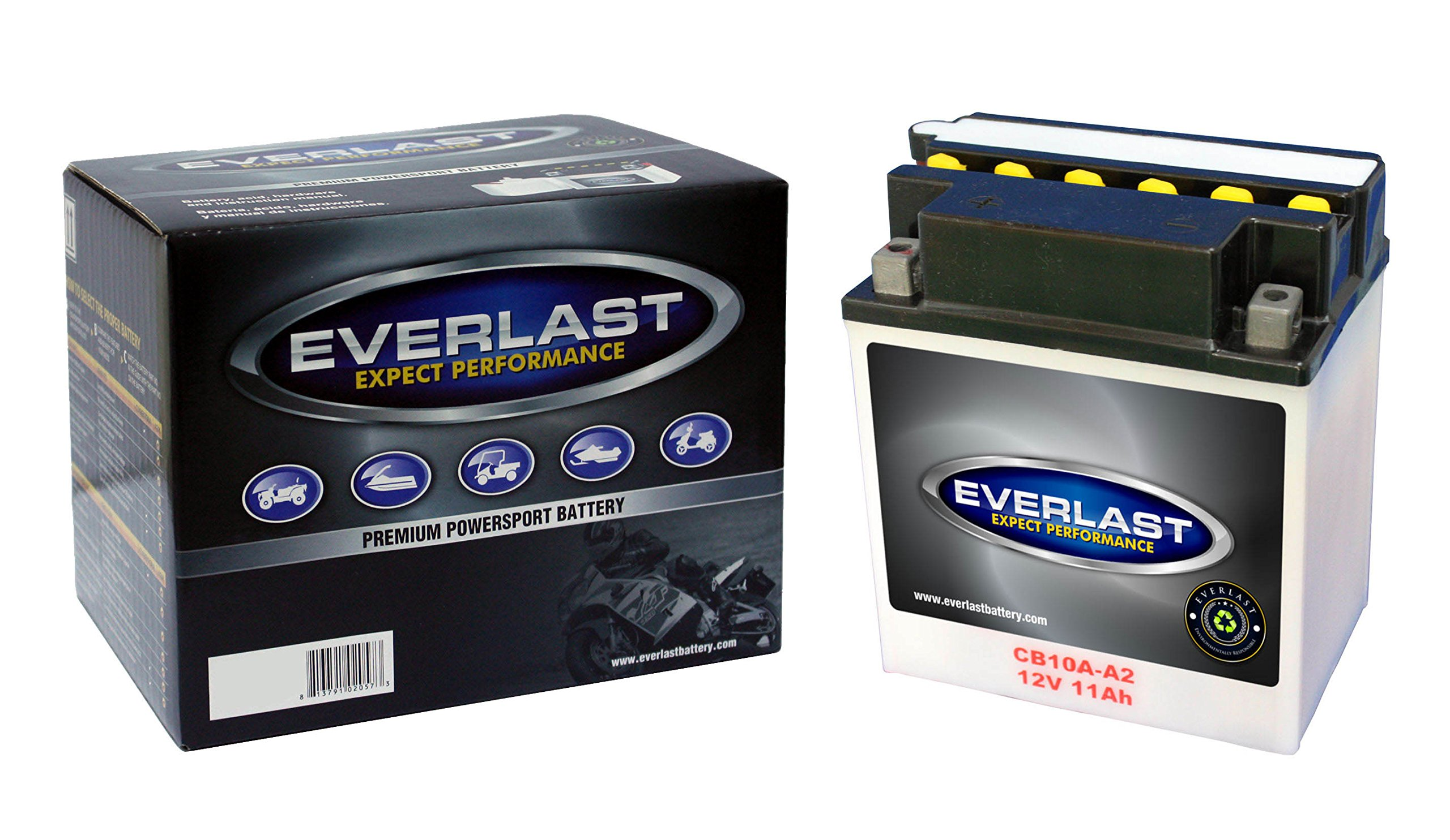 EverLast CB10A-A2 12V Conventional Battery with Acid Pack (5 5/16 L X 3 9/16 W X 6 1/16 H)