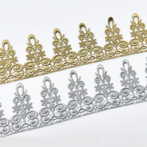 High quality handmade decoration water soluble border crown lace trim