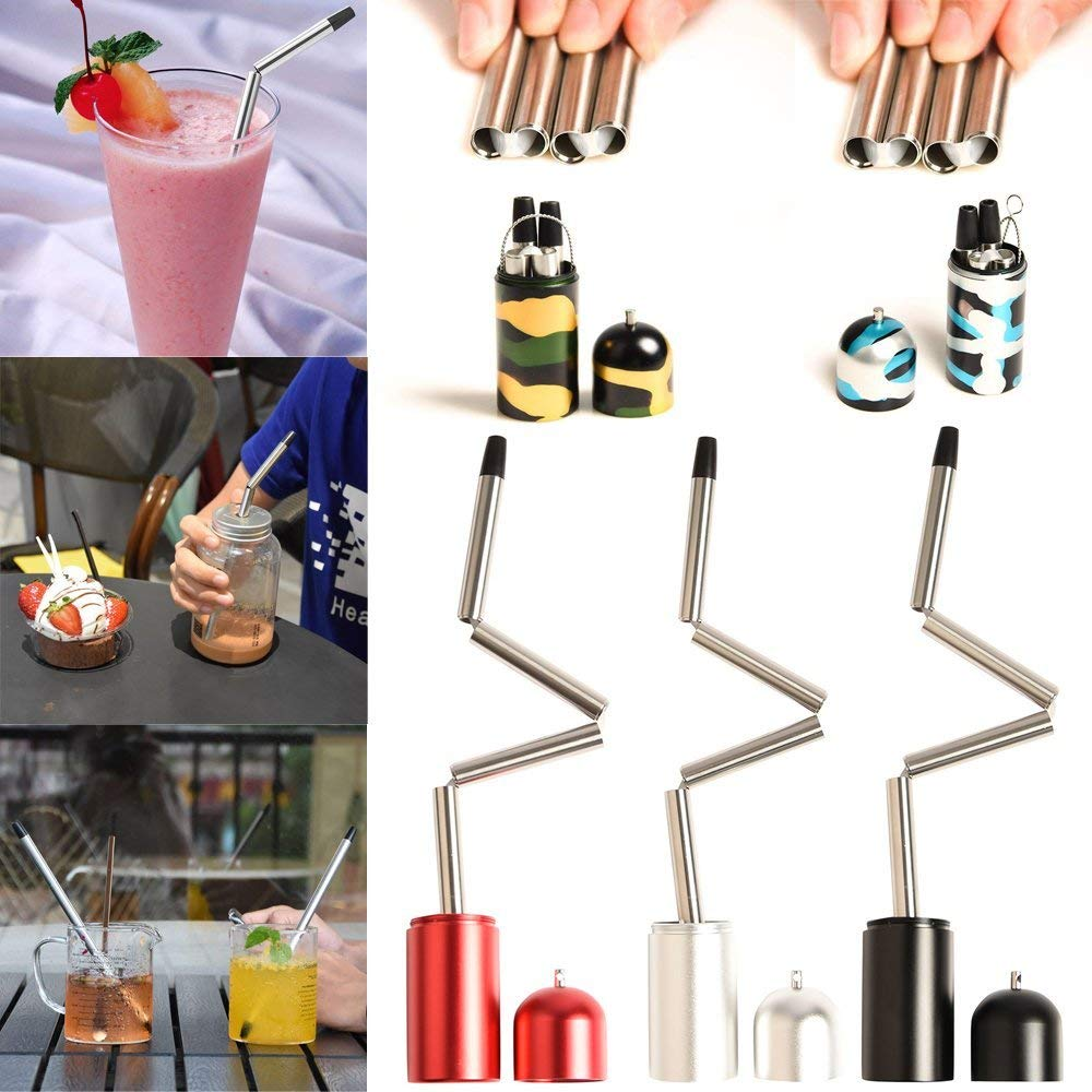 Folding Drinking Straws, Elevin(TM) Collapsible Reusable Straw Stainless Steel Portable Travel Final Outdoor Household
