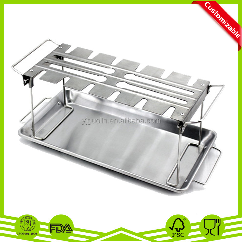 Chicken Leg Roaster and Wing Grill Rack, 12-slot leg and wing grill rack