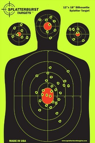 Splatterburst Targets - 12 x18 inch - Silhouette Reactive Shooting Target - Shots Burst Bright Fluorescent Yellow Upon Impact - Gun - Rifle - Pistol - AirSoft - BB Gun - Air Rifle