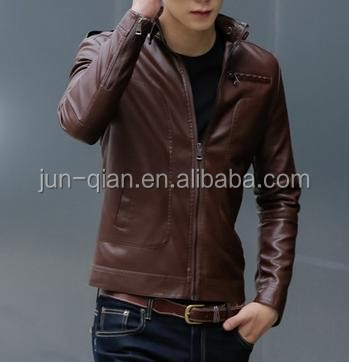latest designer leather jackets with notch collar lapel leather jaket with hooded