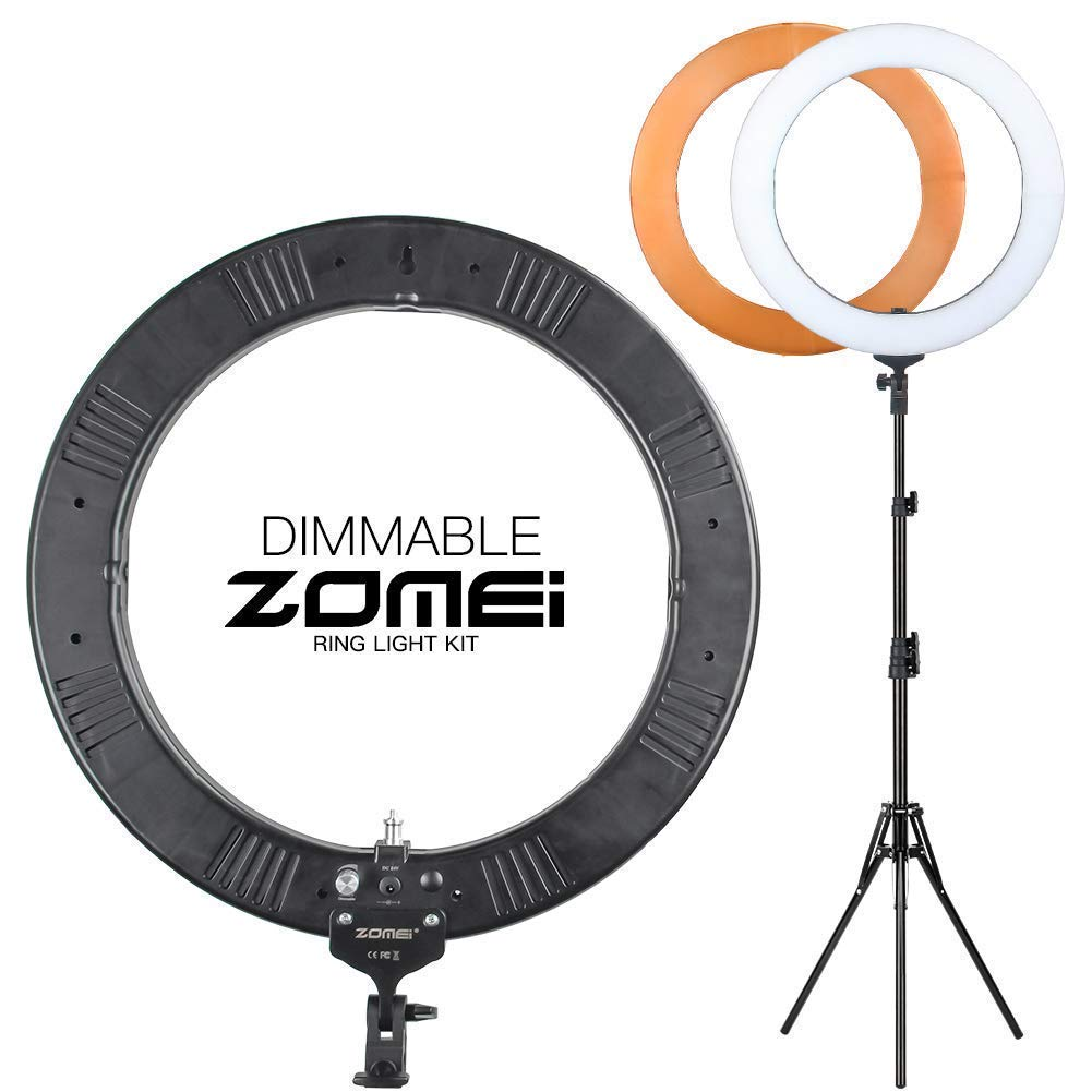 """ZoMei 18"""" Dimmable Ring Light with 74"""" Stand Warm Tone Diffuser Phone Holder Hot Shoe Carrying Bag for YouTube Video Shooting Makeup Tutorial Studio Portrait Photography"""