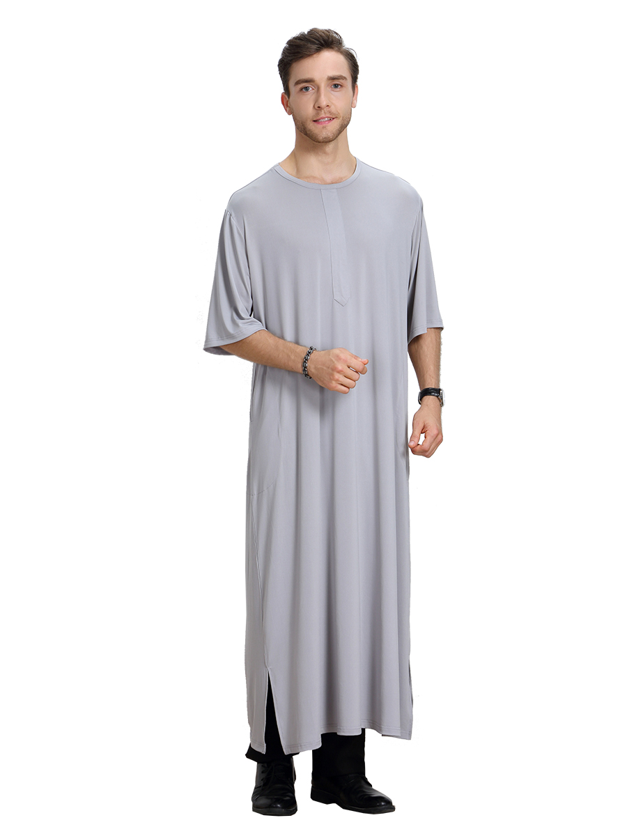 short sleeves Islamic jalabiya Abaya robe Mens Muslim Thobe Clothing Men Ethnic Arab Robes Middle East Kaftan Jubba