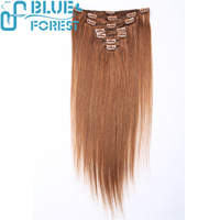 aliexpress Clips on Hair Weft Dark Auburn Straight Indian Remy Hair Extensions