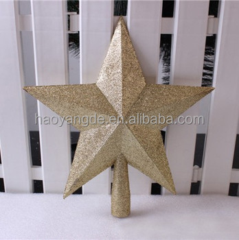 Glitter Christmas Tree Topper Star Five Pointed Xmas Decoration Multicolor