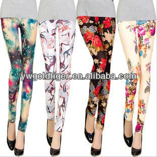 Newest Fashion Spring Summer Wholesale Colored Jeggings Milk Silk Clothes Girls Women Rose Printed Leggings