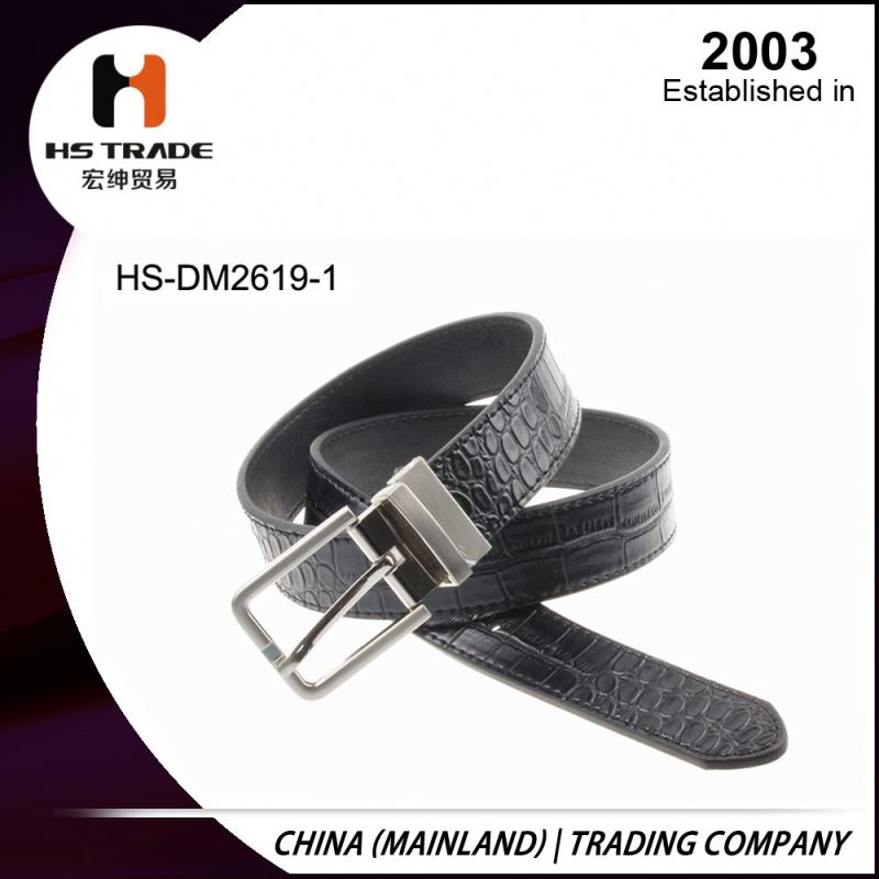 Fashion PU Leather Man Belt with Rotation buckle