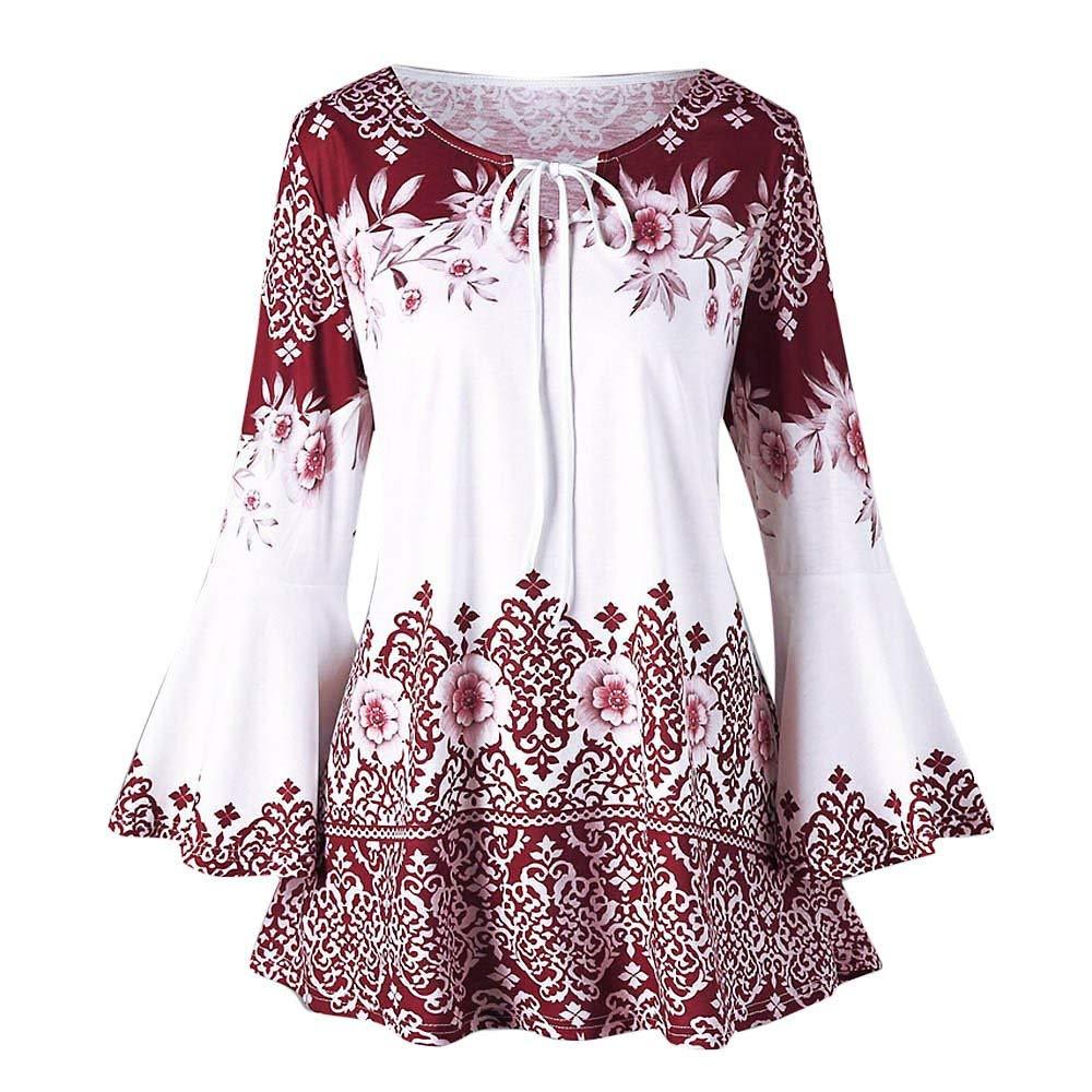 Handyulong Women Shirts Plus Size Clearance Sale Casual Short Sleeve V-Neck Lace up Raglan Tunic T-Shirt Blouse Tops