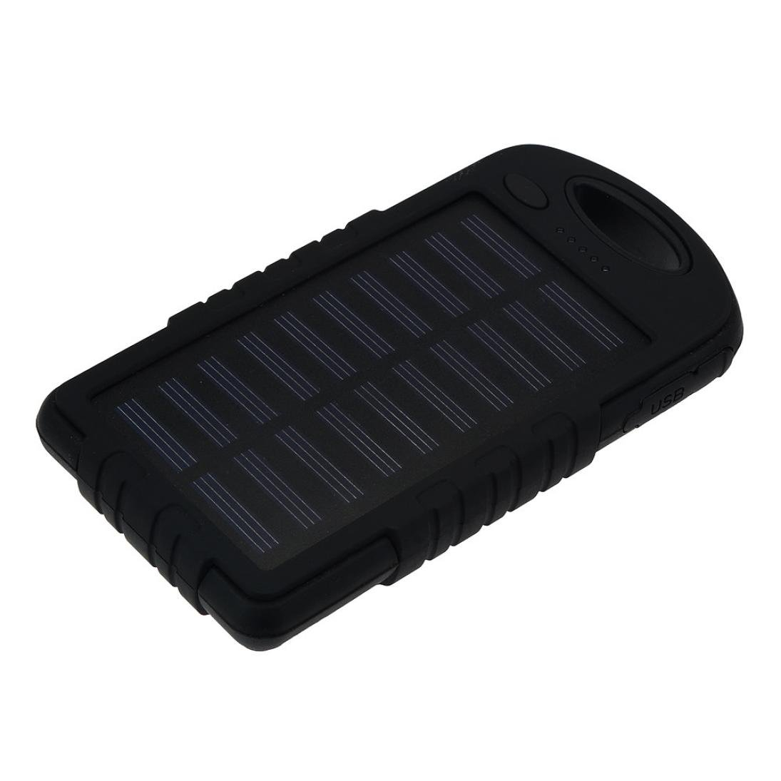 Gotd 10000mAh Portable Solar Charger LED Dual USB External Battery Power Bank, Black
