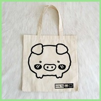 cute shy pig print nature cotton tote carry bag young girls ladies handbags