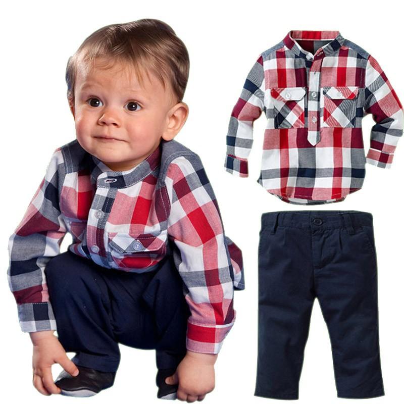 Conjuntos De Roupas De Bebê Menino Infantil 2 Peças Grade Camisa E