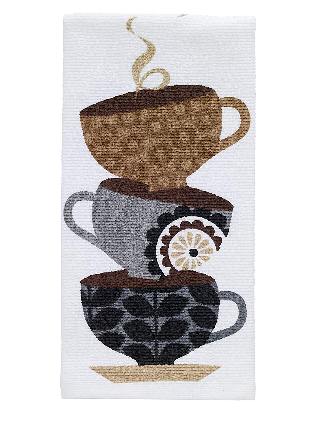 "T-fal Textiles Double Sided Print Woven Cotton Kitchen Dish Towel, 16"" x 26"", Coffee Cup Stack Print"