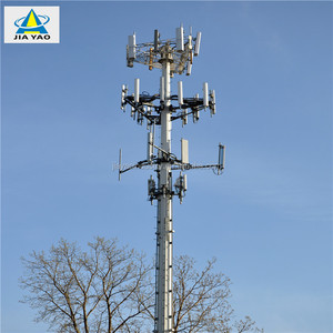 Galvanized Free Standing 30m Monopole Lte Gsm Antenna Tower