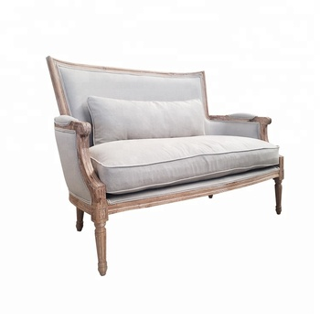 Country Style White Wash Oak Wood Frame French Linen Sofa