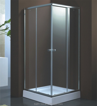 China Supplier Cheap Corner Compact Simple 2 Sided Tempered Glass Shower  Enclosure