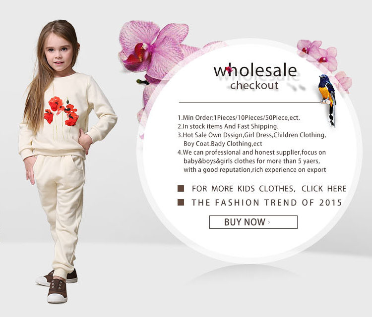 2015 Spring girls windbreaker baby coat with flower section cotton coat
