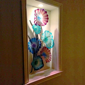 Hand Blown Murano Glass Elegant Tiffany Stained Hanging Plates Dale Chihuly Style Multi Color Glass Art Modern Art Deco Designer