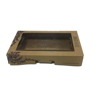 Hard cover brown paper custom gift box with clear window