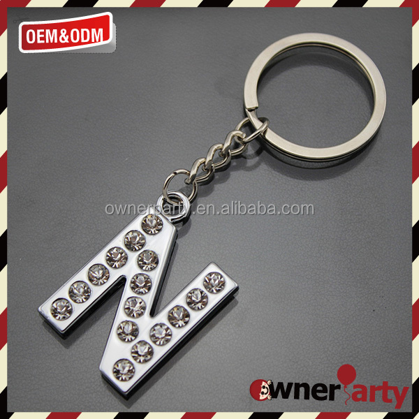 letter N car keyring customized logo metal keychain metal letter keychain