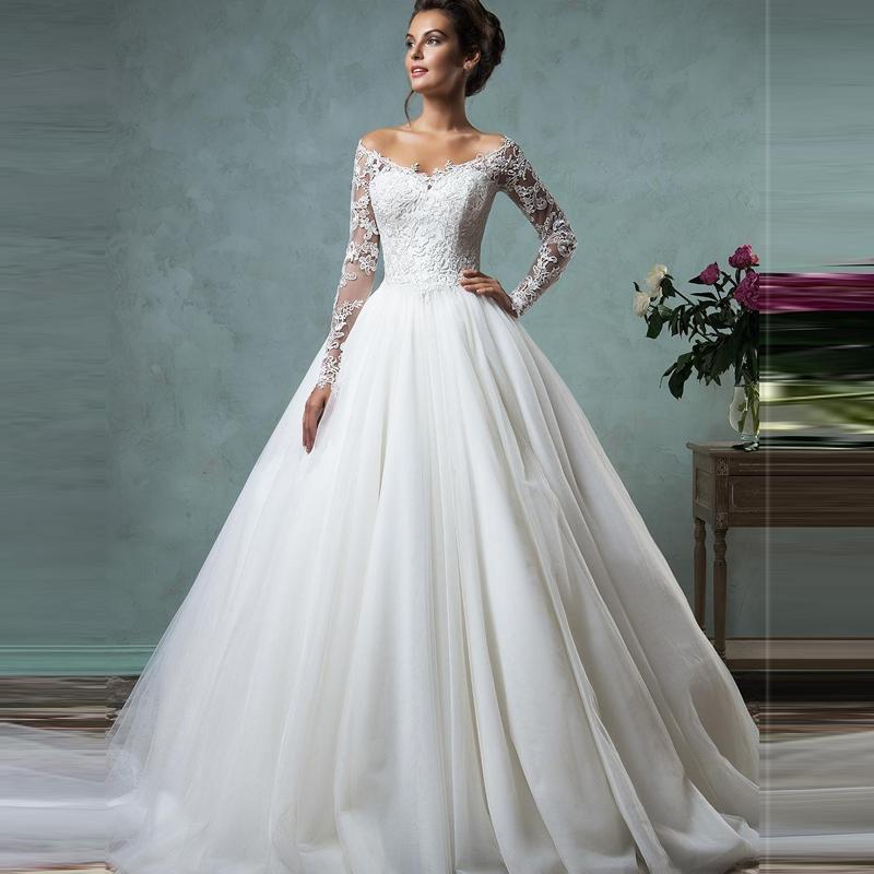 2016 Cheap Lace Wedding Dresses Long Sleeve Fall Winter