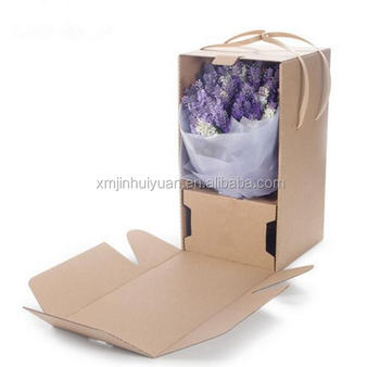 Flower Delivery Corrugated Box With Hhandle Unique Shipping Packing Box For Flowers Buy Packaging Box For Flowers Flower Shipping Boxes Flowers