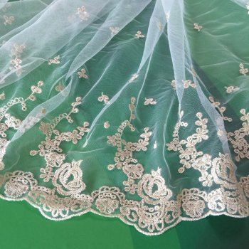Tulle Beaded Lace Fabric Wholesale /Green Purple Tulle Net Embroidery Lace / French Lace Fabric