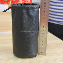 Round bottom leather tool belt pouch bag embossing logo wholesale with drawstring