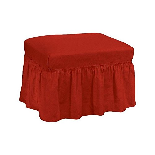Sure Fit Duck Solid 2-Piece - Ottoman Slipcover - Claret (SF33901)