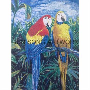 Mam Pr01 Güzel Hayvan Mozaik Sanat Cam Boyama Resimleri Papağan