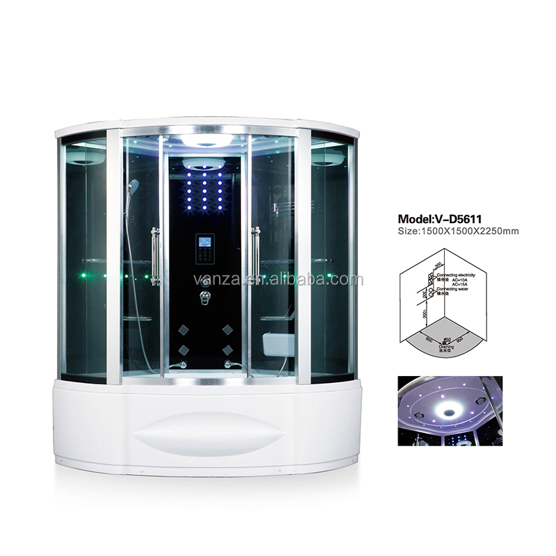 Enclosed Massage Whirlpool Steam Shower Room with Tempered Glass