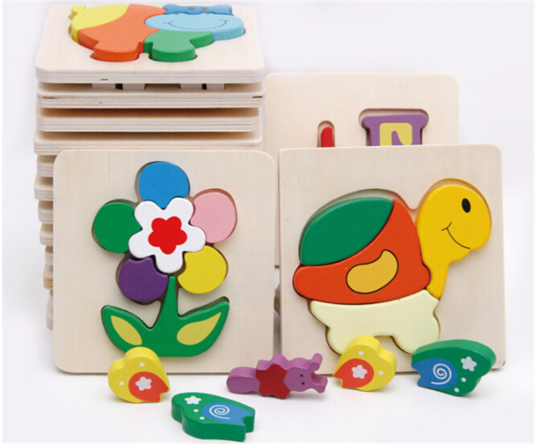 FQ brand 3D wooden educational toy children cartoon animal puzzle