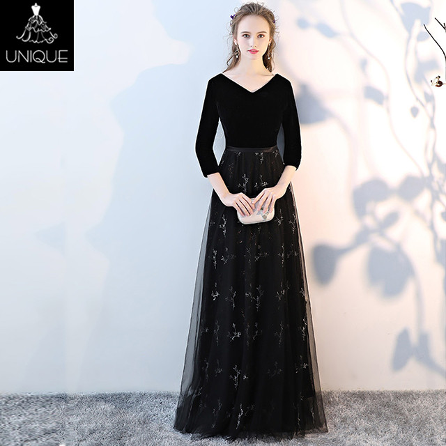 Black female evening dress 2018 new elegant annual host art dress