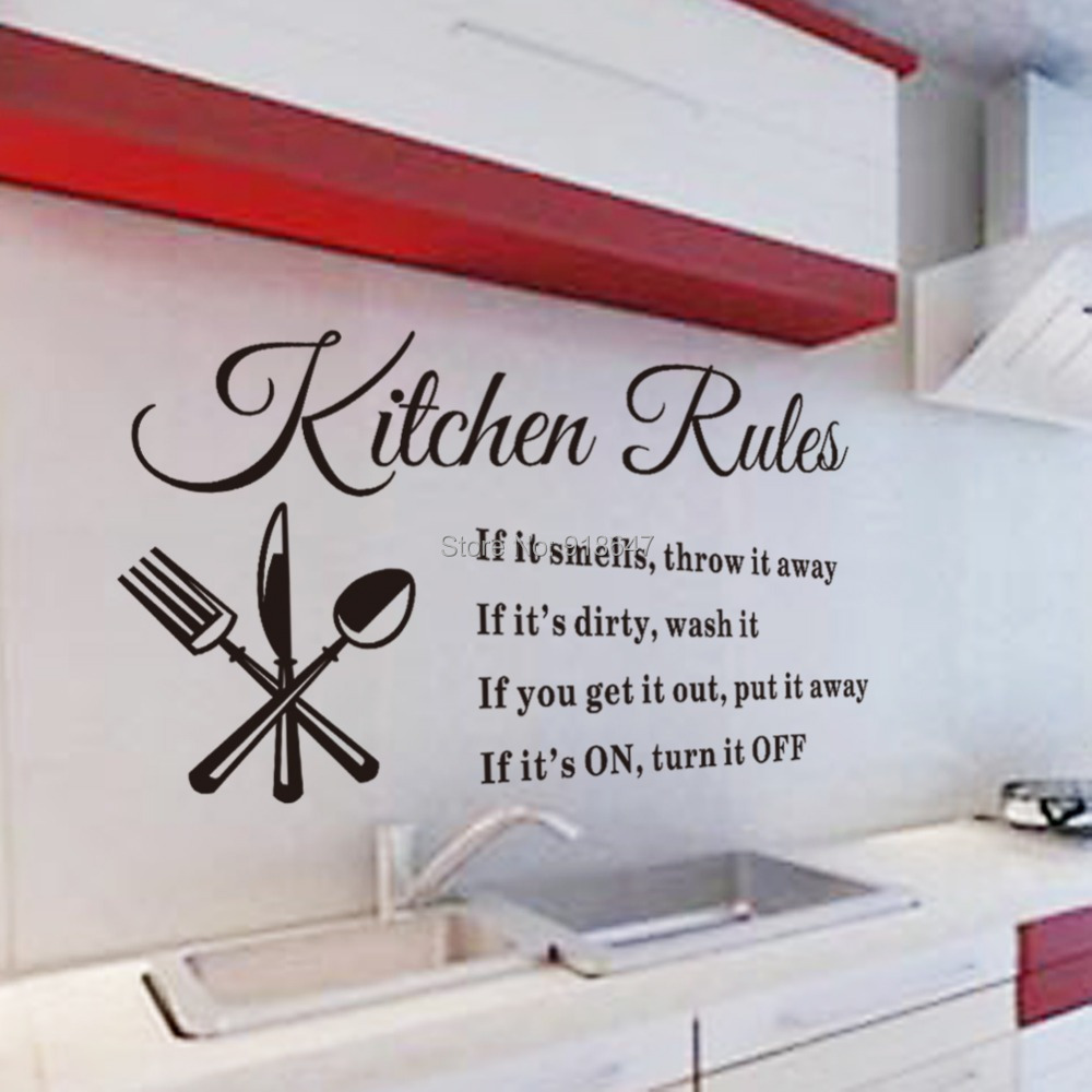 SIA  Wholesale Warmly Kitchen Rules Home Decor Creative Quote Wall Decal Decorative Wall Decor Removable Vinyl Wall Decals