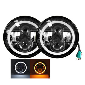 Motorcycle Led Projector Head Lamp 12V DRL 7 inch LED Headlamp for Jeep