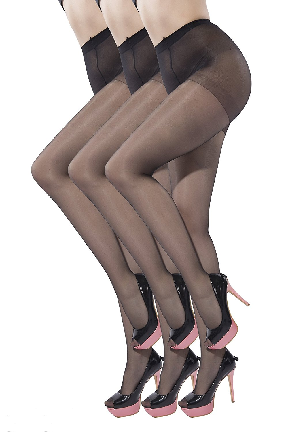 efbb02bd1 Get Quotations · Women Pantyhose Stretchy Tights Sheer to Waist 15 Denier  Sheer Toes Stockings