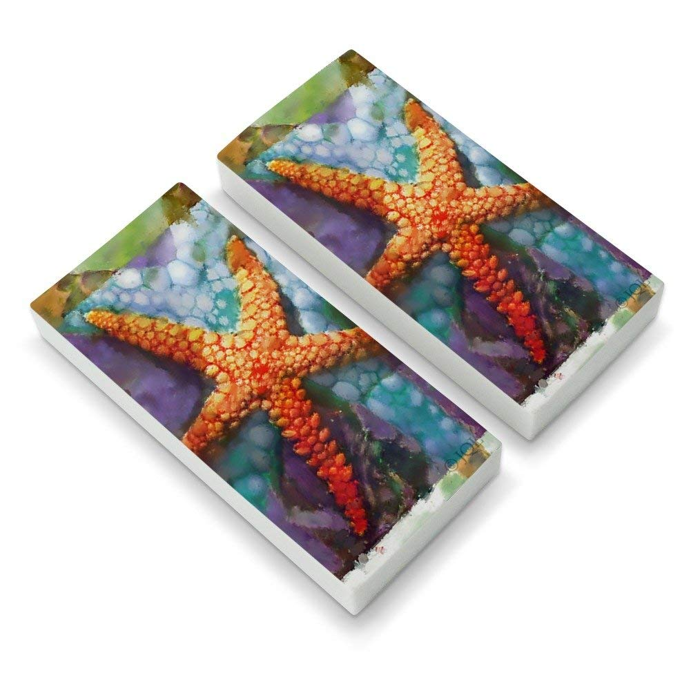 Starfish Watercolor Tropical Ocean Beach Eraser Set of 2