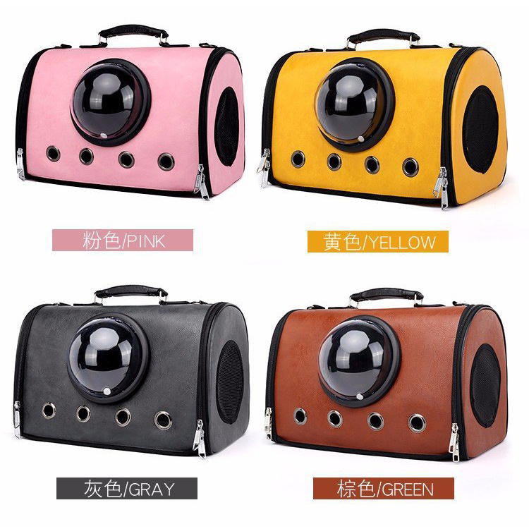 2019 Waterproof PU Leather Portable Breathable Cat Carrying Bags Space Capsule Dog Pet Carrier Bag