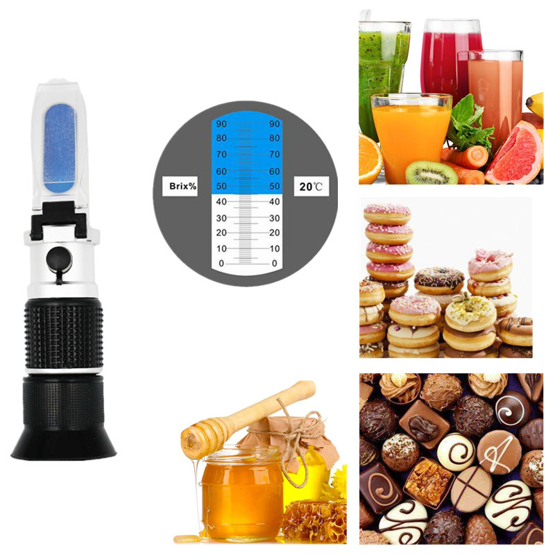 hand held copper material Content 0- 90% brix refractometer with ATC Measurement Tool use of Sugar Food