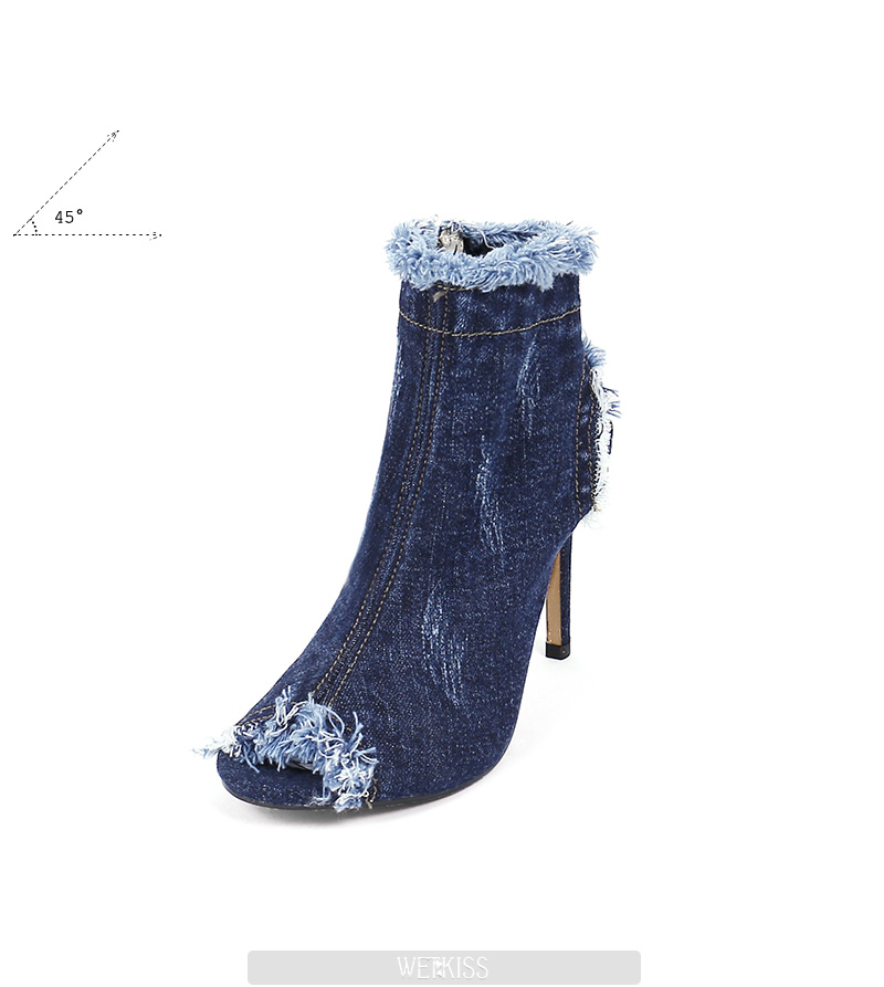 eacbea92de9f WETKISS New Denim Summer Ladies Boots Sexy Peep Toe High Heels Footwear  Zipper Holed Thin Heels Women Shoes Big Size 33-40