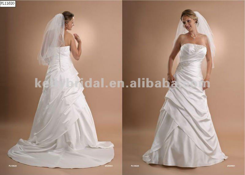 2015 Fashion Pleat satin lace fancy julie vino wedding dresses