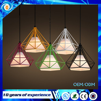 Colorful Birdcage Pendant Lamp Scandinavian Modern Minimalist Art Pyramid Iron Pendant Light Diamond Creative Restaurant Lights