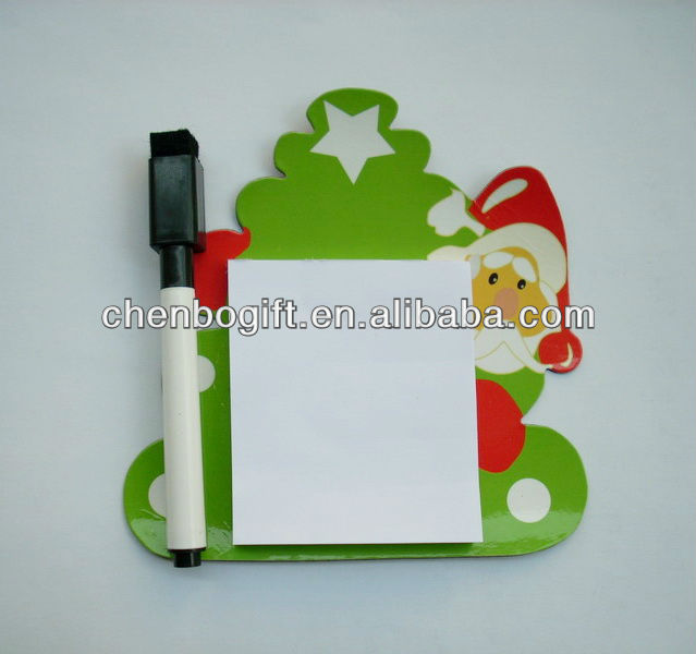 Custom made merry christmas fridge magnet note pad, magnetic sticky note