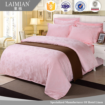 LAIMAIN Wholesale 4 Star Hotel Bed Linen 60s Jacquard Pattern Hotel Cotton Bed  Sheets