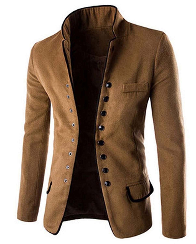 fc1361277 Get Quotations · LANMWORN Men Suit Jacket Single Breasted Retro Thicken  Woollen Mandarin Collar Chinese Tunic Suit Coat Blazer